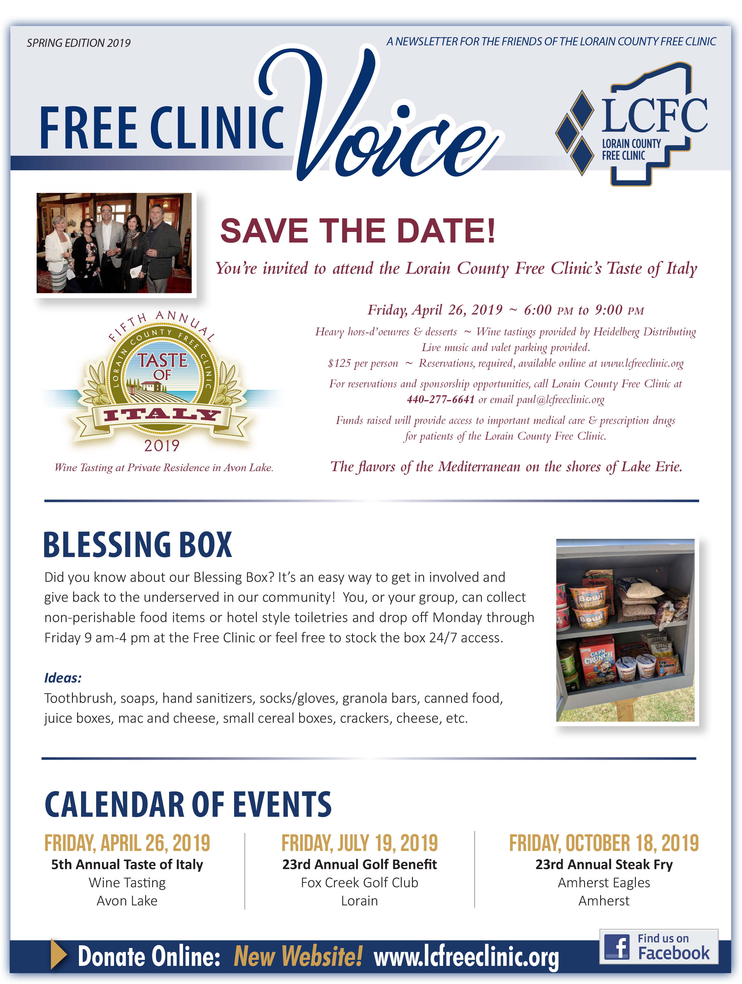 The Free Clinic Voice Newsletter: Spring 2019 - Lorain